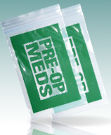 "Green ""Pre-Op"" Meds Printer Bag Reclosable"